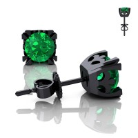 Modern Vintage 14K Black Gold 1.0 Ct Emerald French Stud Earrings E102-14KBGEM