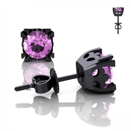 Modern-Vintage-14K-Black-Gold-1-2-3-Carat-Light-Pink-Sapphire-French-Stud-Earrings-E102-14KBGLPS-Art-Masters-Jewelry