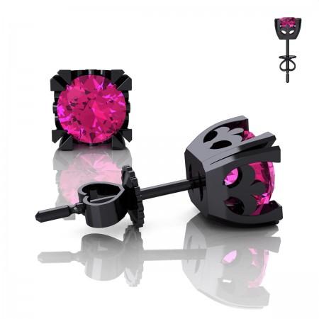 Modern-Vintage-14K-Black-Gold-1-2-3-Carat-Pink-Sapphire-French-Stud-Earrings-E102-14KBGPS-Art-Masters-Jewelry