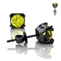 Modern Vintage 14K Black Gold 1.0 Ct Yellow Sapphire French Stud Earrings E102-14KBGYS