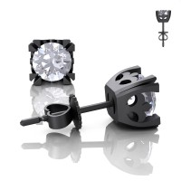 Modern Vintage 14K Matte Black Gold 1.0 Ct White Sapphire French Stud Earrings E102-14KMBGWS