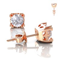 Modern Vintage 14K Rose Gold 1.0 Ct White Sapphire French Stud Earrings E102-14KRGWS