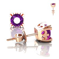 Modern Vintage 14K Rose Gold 1.0 Ct Amethyst French Stud Earrings E102P-14KRGAM