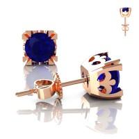 Modern Vintage 14K Rose Gold 1.0 Ct Blue Sapphire French Stud Earrings E102-14KRGBS