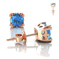 Modern Vintage 14K Rose Gold 1.0 Ct Blue Topaz French Stud Earrings E102-14KRGBT