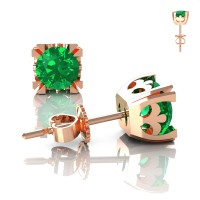 Modern Vintage 14K Rose Gold 1.0 Ct Emerald French Stud Earrings E102-14KRGEM