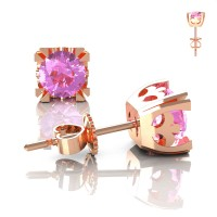 Modern Vintage 14K Rose Gold 1.0 Ct Light Pink Sapphire French Stud Earrings E102-14KRGLPS