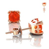 Modern Vintage 14K Rose Gold 1.0 Ct Orange Sapphire French Stud Earrings E102-14KRGOS