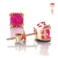 Modern Vintage 14K Rose Gold 1.0 Ct Pink Sapphire French Stud Earrings E102-14KRGPS
