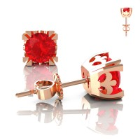 Modern Vintage 14K Rose Gold 1.0 Ct Ruby French Stud Earrings E102-14KRGR