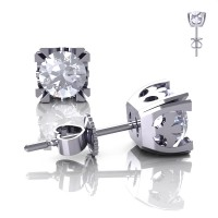 Modern Vintage 14K White Gold 1.0 Ct White Sapphire French Stud Earrings E102-14KWGWS