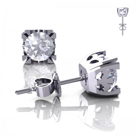 Modern-Vintage-14K-White-Gold-1-0-Carat-White-Sapphire-French-Stud-Earrings-E102-14KWGWS-P