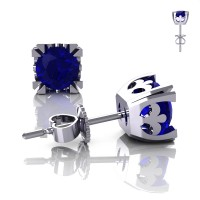 Modern Vintage 14K White Gold 1.0 Ct Blue Sapphire French Stud Earrings E102-14KWGBS