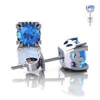 Modern Vintage 14K White Gold 1.0 Ct Blue Topaz French Stud Earrings E102-14KWGBT