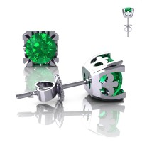 Modern Vintage 14K White Gold 1.0 Ct Emerald French Stud Earrings E102-14KWGEM