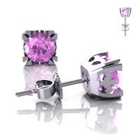 Modern Vintage 14K White Gold 1.0 Ct Light Pink Sapphire French Stud Earrings E102-14KWGLPS