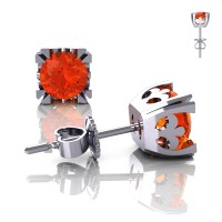 Modern Vintage 14K White Gold 1.0 Ct Orange Sapphire French Stud Earrings E102-14KWGOS