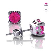 Modern Vintage 14K White Gold 1.0 Ct Pink Sapphire French Stud Earrings E102-14KWGPS