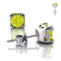 Modern Vintage 14K White Gold 1.0 Ct Yellow Sapphire French Stud Earrings E102-14KWGYS
