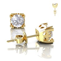 Modern Vintage 14K Yellow Gold 1.0 Ct White Sapphire French Stud Earrings E102-14KYGWS