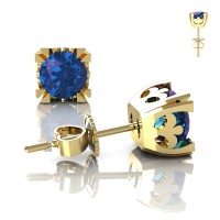 Modern Vintage 14K Yellow Gold 1.25 Ct Alexandrite French Stud Earrings E102-14KYGAL