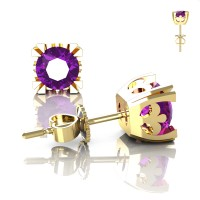 Modern Vintage 14K Yellow Gold 1.0 Ct Amethyst French Stud Earrings E102P-14KYGAM