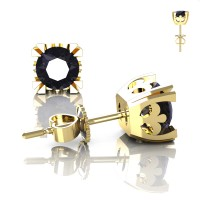 Modern Vintage 14K Yellow Gold 1.0 Ct Black Diamond French Stud Earrings E102-14KYGBD