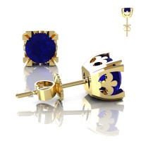 Modern Vintage 14K Yellow Gold 1.0 Ct Blue Sapphire French Stud Earrings E102-14KYGBS