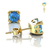 Modern Vintage 14K Yellow Gold 1.0 Ct Blue Topaz French Stud Earrings E102-14KYGBT