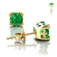 Modern Vintage 14K Yellow Gold 1.0 Ct Emerald French Stud Earrings E102-14KYGEM