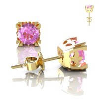 Modern Vintage 14K Yellow Gold 1.0 Ct Light Pink Sapphire French Stud Earrings E102-14KYGLPS