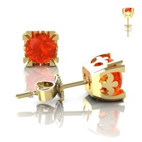 Modern-Vintage-14K-Yellow-Gold-1-2-3-Carat-Orange-Sapphire-French-Stud-Earrings-E102-14KYGOS-Art-Masters-Jewelry
