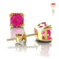 Modern Vintage 14K Yellow Gold 1.0 Ct Pink Sapphire French Stud Earrings E102-14KYGPS