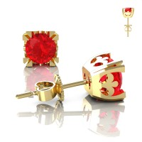 Modern Vintage 14K Yellow Gold 1.0 Ct Ruby French Stud Earrings E102-14KYGR