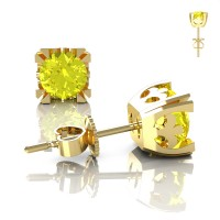 Modern Vintage 14K Yellow Gold 1.0 Ct Yellow Sapphire French Stud Earrings E102-14KYGYS