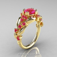 Nature Classic 14K Yellow Gold 1.0 Ct Pink Sapphire Leaf and Vine Engagement Ring R340-14KYGPS
