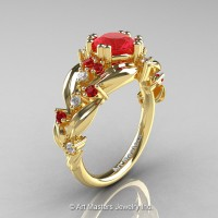 Nature Classic 14K Yellow Gold 1.0 Ct Ruby Diamond Leaf and Vine Engagement Ring R340-14KYGDR