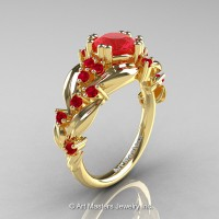 Nature Classic 14K Yellow Gold 1.0 Ct Ruby Leaf and Vine Engagement Ring R340-14KYGR