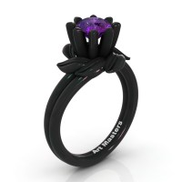 Nature Inspired 14K Black Gold 1.0 Ct Amethyst Leaf and Vine Engagement Ring R440-14KBGAM