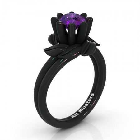 Nature-Inspired-14K-Black-Gold-1-0-Ct-Amethyst-Leaf-and-Vine-Arpine-Engagement-Ring-R440-14KBGAM-P