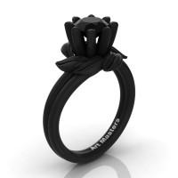 Nature Inspired 14K Black Gold 1.0 Ct Back Sapphire Leaf and Vine Engagement Ring R440-14KBGBLS