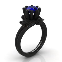 Nature Inspired 14K Black Gold 1.0 Ct Blue Sapphire Leaf and Vine Engagement Ring R440-14KBGBS