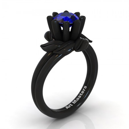 Nature-Inspired-14K-Black-Gold-1-0-Ct-Blue-Sapphire-Leaf-and-Vine-Engagement-Ring-R440-14KBGBS-P220