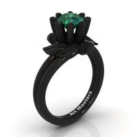 Nature Inspired 14K Black Gold 1.0 Ct Emerald Leaf and Vine Engagement Ring R440-14KBGEM
