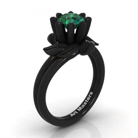 Nature-Inspired-14K-Black-Gold-1-0-Ct-Emerald-Leaf-and-Vine-Arpine-Engagement-Ring-R440-14KBGEM-P
