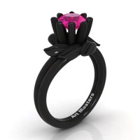 Nature Inspired 14K Black Gold 1.0 Ct Pink Sapphire Leaf and Vine Engagement Ring R440-14KBGPS