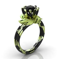 Nature Inspired 14K Black Green Leopard Gold 1.0 Ct Black Diamond Leaf and Vine Engagement Ring R440-14KBGGLSBD