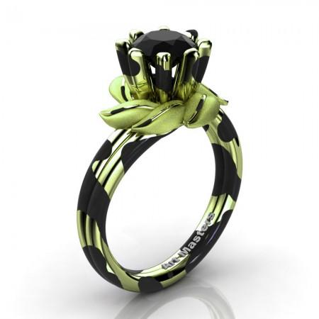 Nature-Inspired-14K-Black-Green-Leopard-Gold-1-0-Ct-Black-Diamond-Leaf-and-Vine-Engagement-Ring-R440-14KBGGLSBD-P
