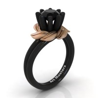 Nature Inspired 14K Black Rose Gold 1.0 Ct Black Sapphire Leaf and Vine Engagement Ring R440-14KBRGSBLS