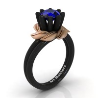 Nature Inspired 14K Black Rose Gold 1.0 Ct Blue Sapphire Leaf and Vine Engagement Ring R440-14KBRGSBS